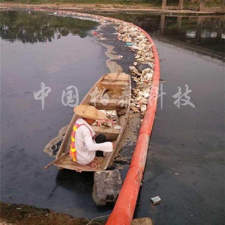 广州河道采用塑料拦污浮筒后效果