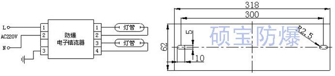 YK36DFx2CS防爆电子镇流器怎样与灯管连接 YK36DFx2CS防爆电子镇流器现在是端子型的,用于双管荧光灯上,一头三个端子,一头四个端子,三个端子的那头分别接电源和接地线,四个端子那头接灯管。 YK36DFx2CS防爆电子镇流器特点 (1)节能。使用50—60Hz频率供给灯管,使灯管光效比工频提高约10%,且自身功耗低,使灯的总输入功率下降约20%,有更佳的节能效果。 (2)消除频闪,使光源输出更稳定。有利于提高视觉分辨率,提高功效;降低连续作业的视觉疲劳,有利于保护视力。 (3)起点